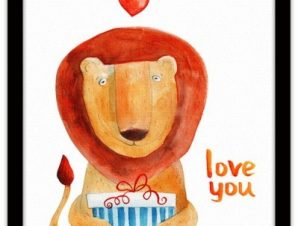 Λιοντάρι με δώρο Παιδικά Πίνακες σε καμβά 40 x 40 εκ.