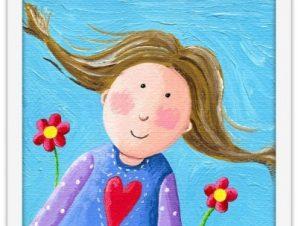Χαρούμενο κοριτσάκι Παιδικά Πίνακες σε καμβά 40 x 40 εκ.
