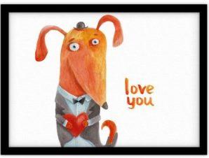 Αλεπού με καρδιά Παιδικά Πίνακες σε καμβά 30 x 20 εκ.