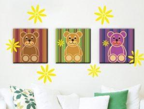 Αρκουδάκια Παιδικά Πίνακες και αυτοκόλλητα 120×68