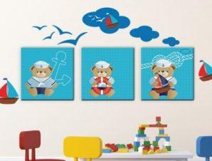 Αρκούδος ναύτης Παιδικά Πίνακες και αυτοκόλλητα 131×55
