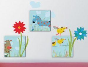 Ζωάκια με λουλούδια Παιδικά Πίνακες και αυτοκόλλητα 133×52
