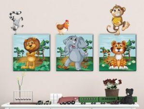Ζώα της ζούγκλας Παιδικά Πίνακες και αυτοκόλλητα 136Χ43