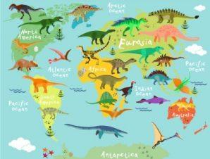 Χάρτης Με Άγρια Ζώα Παιδικά Ταπετσαρίες Τοίχου 100 x 100 εκ.