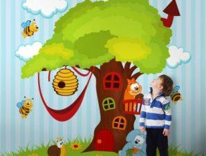 Δεντρόσπιτο Παιδικά Ταπετσαρίες Τοίχου 100 x 100 εκ.