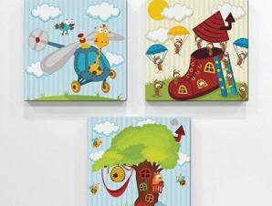 Παίζω με τα ζώα Παιδικά Mini Set καμβάς 25 x 25 εκ.