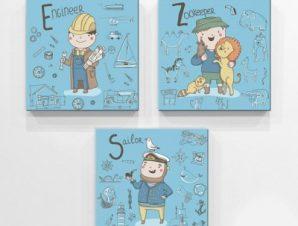 Επαγγέλματα μπλε φόντο Παιδικά Mini Set καμβάς 25 x 25 cm