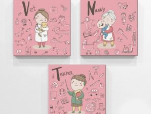 Επαγγέλματα ροζ φόντο Παιδικά Mini Set καμβάς 25 x 25 εκ.