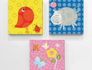 Ζωάκια Παιδικά Mini Set καμβάς 25 x 25 εκ.