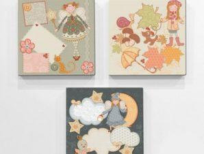 Ρετρό κούκλες Παιδικά Mini Set καμβάς 25 x 25 εκ.