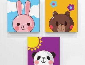 Χαρούμενα ζώα Παιδικά Mini Set καμβάς 25 x 25 cm