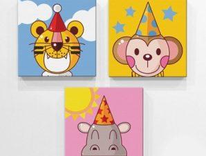Γενέθλια Ζώων Παιδικά Mini Set καμβάς 25 x 25 cm