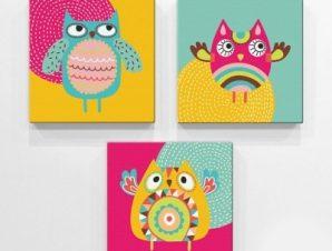 Κουκουβάγιες Παιδικά Mini Set καμβάς 25 x 25 εκ.