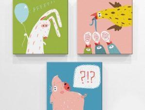 Αστεία Ζώα Παιδικά Mini Set καμβάς 25 x 25 εκ.