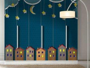 Πόλη το βράδυ Παιδικά Αυτοκόλλητα ντουλάπας 100 x 100 εκ.