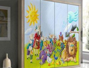 Χαρούμενα ζωάκια Παιδικά Αυτοκόλλητα ντουλάπας 100 x 100 εκ.