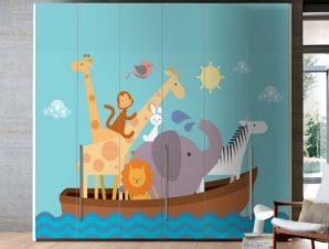Κιβωτός του Νώε Παιδικά Αυτοκόλλητα ντουλάπας 100 x 100 εκ.