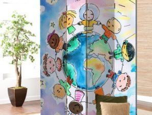 Γύρος του κόσμου Παιδικά Παραβάν 80 x 180 εκ. [Δίφυλλο]