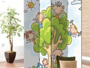 Παιδάκια σε δέντρο Παιδικά Παραβάν 80 x 180 εκ. [Δίφυλλο]