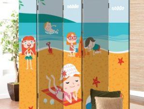 Κάστρα Στην Άμμο Παιδικά Παραβάν 80×180 cm [Δίφυλλο]