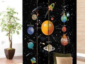 Ηλιακό Σύστημα 2 Παιδικά Παραβάν 80×180 cm [Δίφυλλο]