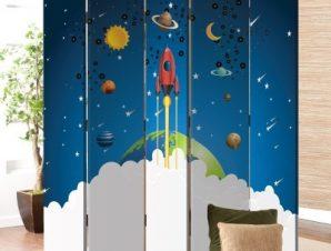 Μικρός Πύραυλος Παιδικά Παραβάν 80 x 180 εκ. [Δίφυλλο]