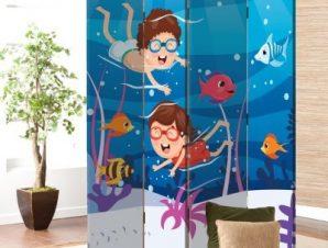 Παίζοντας Με Τα Ψάρια Παιδικά Παραβάν 80 x 180 εκ. [Δίφυλλο]