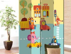 Μικρά Οχήματα Παιδικά Παραβάν 80×180 cm [Δίφυλλο]
