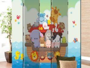 Ζωάκια Πάνω Στην Βάρκα Παιδικά Παραβάν 80×180 cm [Δίφυλλο]