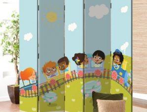 Παιδάκια Σε Τραινάκι Παιδικά Παραβάν 80 x 180 εκ. [Δίφυλλο]
