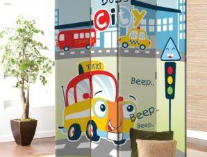 Busy city Taxi Παιδικά Παραβάν 80×180 cm [Δίφυλλο]