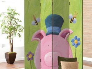 Χαριτωμένο ροζ γουρουνάκι Παιδικά Παραβάν 80×180 cm [Δίφυλλο]