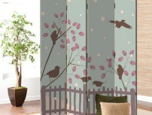 Πουλιά σε χειμερινό φόντο Παιδικά Παραβάν 80 x 180 εκ. [Δίφυλλο]
