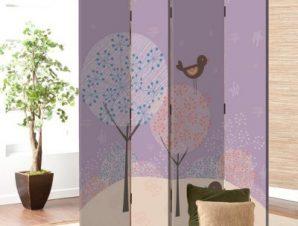 Πουλιά με δέντρα Παιδικά Παραβάν 80 x 180 εκ. [Δίφυλλο]