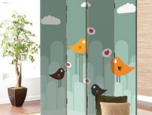 Πουλιά της αγάπης Παιδικά Παραβάν 80×180 cm [Δίφυλλο]