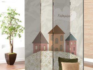 Ρετρό σπίτια Παιδικά Παραβάν 80 x 180 εκ. [Δίφυλλο]