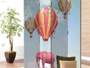 Ροζ ελεφαντάκι σε αερόστατο Παιδικά Παραβάν 80×180 cm [Δίφυλλο]