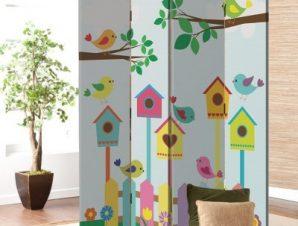Πολύχρωμα κλουβιά πουλιών Παιδικά Παραβάν 80 x 180 εκ. [Δίφυλλο]