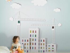 Κτίρια και γερανοί Παιδικά Ταπετσαρίες Τοίχου 100 x 100 εκ.