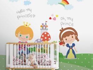 Πρίγκιπας και Πριγκίπισσα Παιδικά Ταπετσαρίες Τοίχου 100 x 100 εκ.