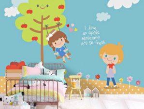 Παιδάκια παίζουν Παιδικά Ταπετσαρίες Τοίχου 100 x 100 εκ.