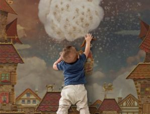 Ζωάκια σε αερόστατο Παιδικά Ταπετσαρίες Τοίχου 100 x 100 cm