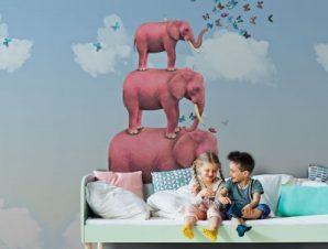 Ροζ ελέφαντες Παιδικά Ταπετσαρίες Τοίχου 100 x 100 εκ.