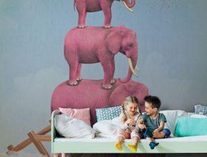 Ροζ ελέφαντες στον ουρανό Παιδικά Ταπετσαρίες Τοίχου 100 x 100 εκ.