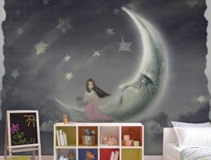 Κοπέλα στα αστέρια Παιδικά Ταπετσαρίες Τοίχου 100 x 100 εκ.