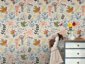 Μοτίβο λουλουδάκια και πουλιά Παιδικά Ταπετσαρίες Τοίχου 100 x 100 εκ.