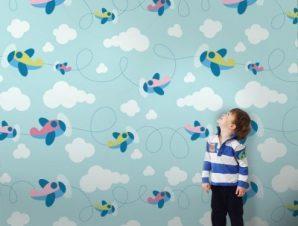 Αεροπλανάκια Παιδικά Ταπετσαρίες Τοίχου 85 x 110 cm