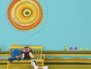 Εικονογράφηση ήλιου Παιδικά Ταπετσαρίες Τοίχου 100 x 100 εκ.