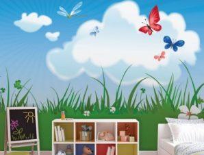 Γρασίδι με πεταλούδες Παιδικά Ταπετσαρίες Τοίχου 100 x 100 εκ.