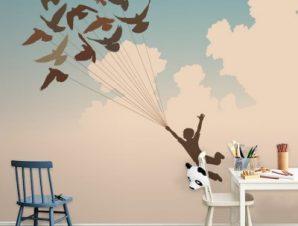 Αγόρι με πουλιά στον ουρανό Παιδικά Ταπετσαρίες Τοίχου 79 x 120 cm